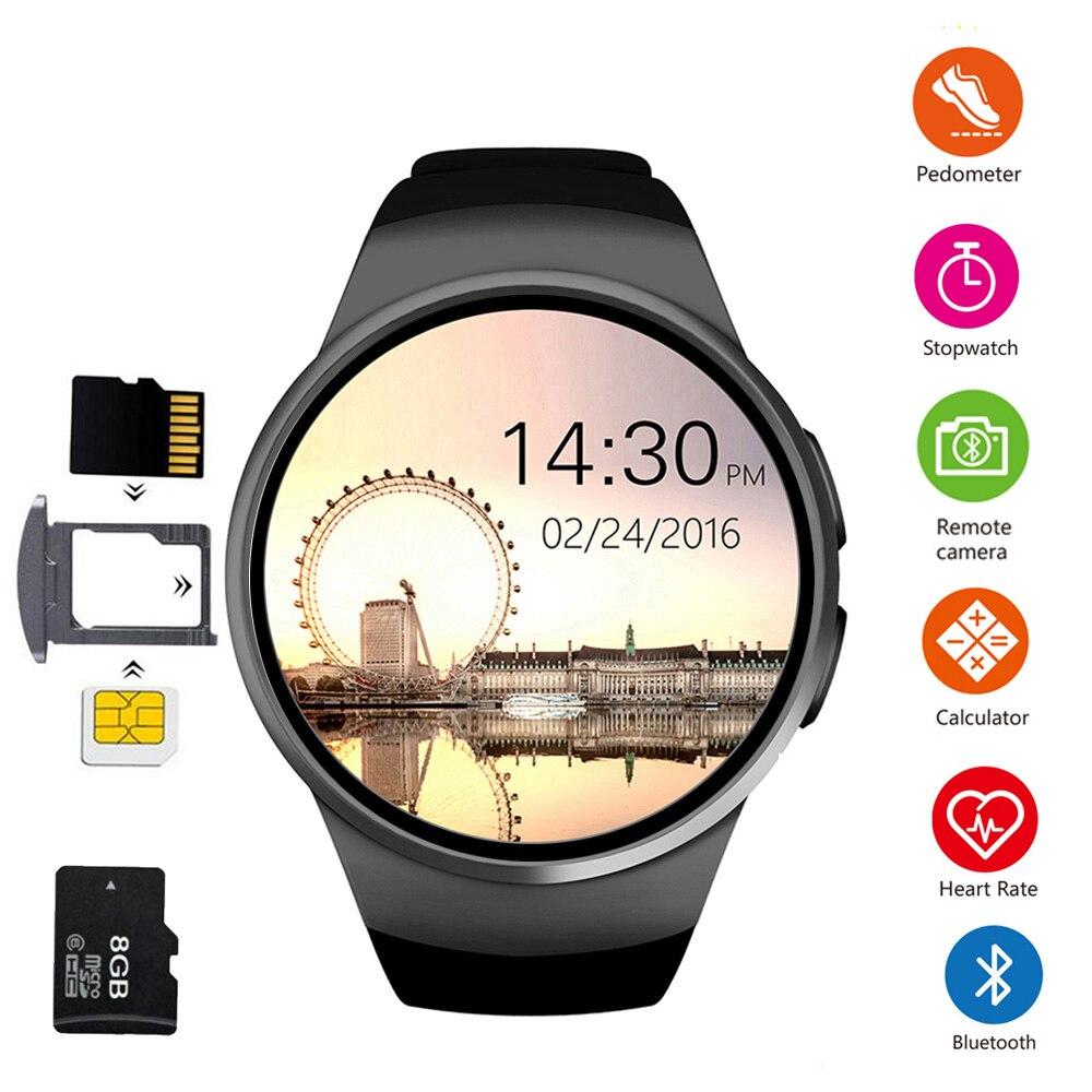 KW18 montre intelligente hommes prennent en charge la carte SIM TF Bluetooth appel fréquence cardiaque podomètre Modes Sport Smartwatch pour Android IOS