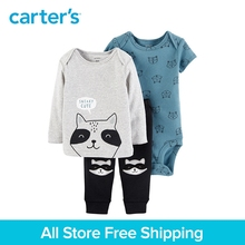 3pcs babysoft cotton stripes raccoon print clothing Set Carter's baby boy spring autumn clothing 126H778
