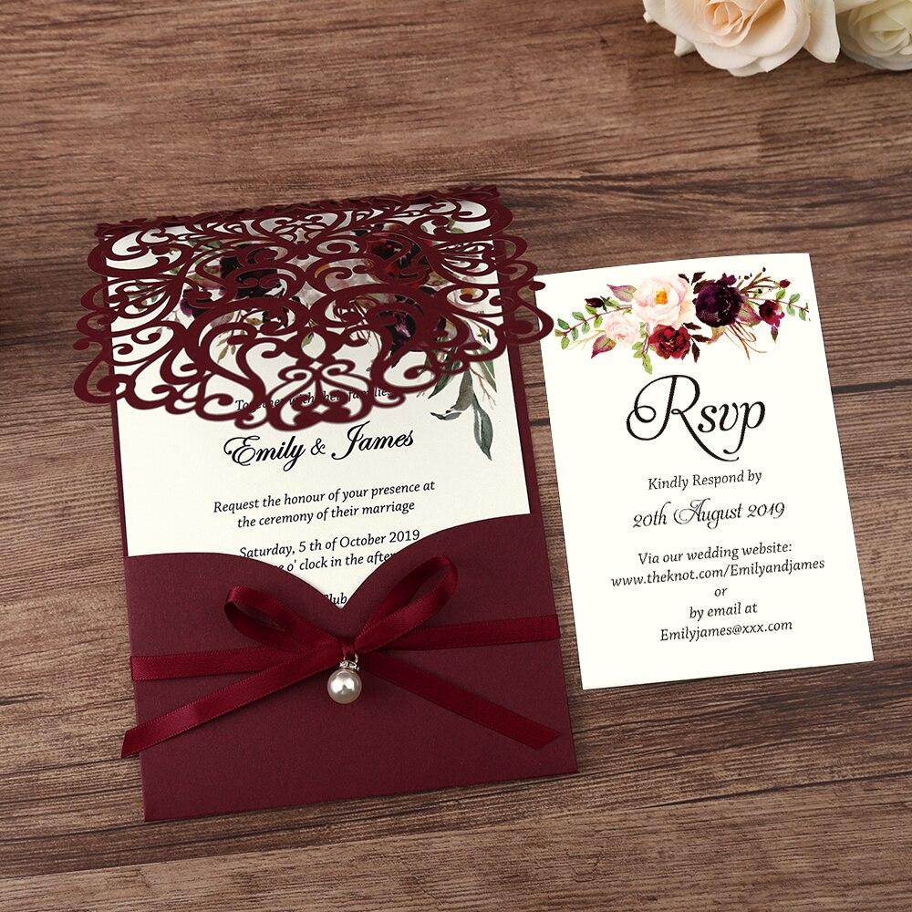 50pcs 부르고뉴 새로운 도착 가로 레이저 컷 결혼식 초대장 진주 리본, rsvp 카드, 사용자 정의-에서카드 & 초대장부터 홈 & 가든 의  그룹 3