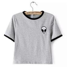 Verano 2016 alien impreso Camisetas de la ropa para las mujeres camisetas tee shirt femme poleras de mujer camiseta mujer camisetas tops