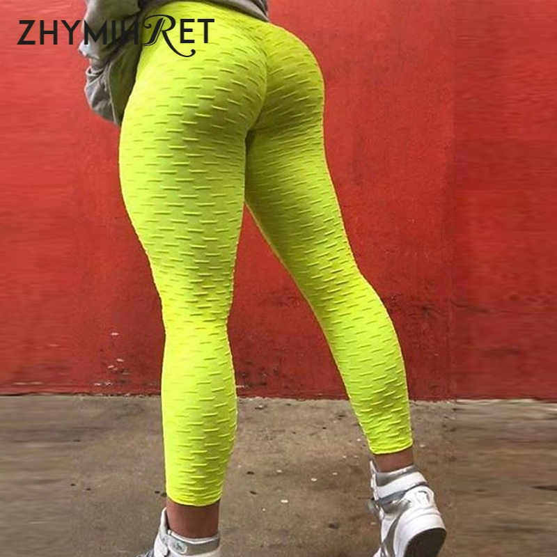 ZHYMIHRET Neon color High Waist Fitness   Leggings   Women Ruched Hips Skinny Leggins Mujer Sexy Push Up   Leggings   Leginsy Damskie