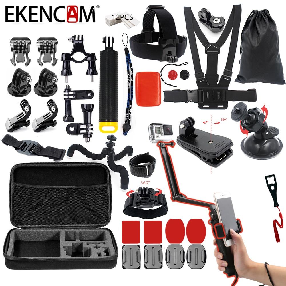 EKENCAM Sports Camera accessories Kits set 3 Way Monopod for gopro hero 6 5 4 3 sjcam sj4000 for EKEN H9 H8r xiaomi yi 4K camera