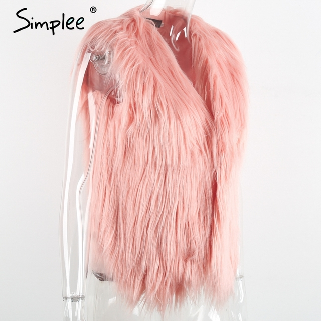 Simplee Faux fur pink women vest Autumn winter sleeveless white outerwear Hairy fluffy casual fashion overcoat 2018 6