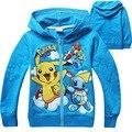 Pokemon ir facção do bebê meninos hoodies & camisolas 2016 outono nova crianças casacos adolescente clothing para meninos jaqueta de bebê meninas