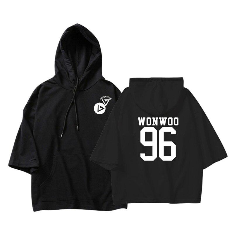 ALIPOP KPOP Korean Fashion Seventeen DINO MINGYU THE8 WONWOO Cotton Thin Three Quarter Hoodies Pullovers Hoode