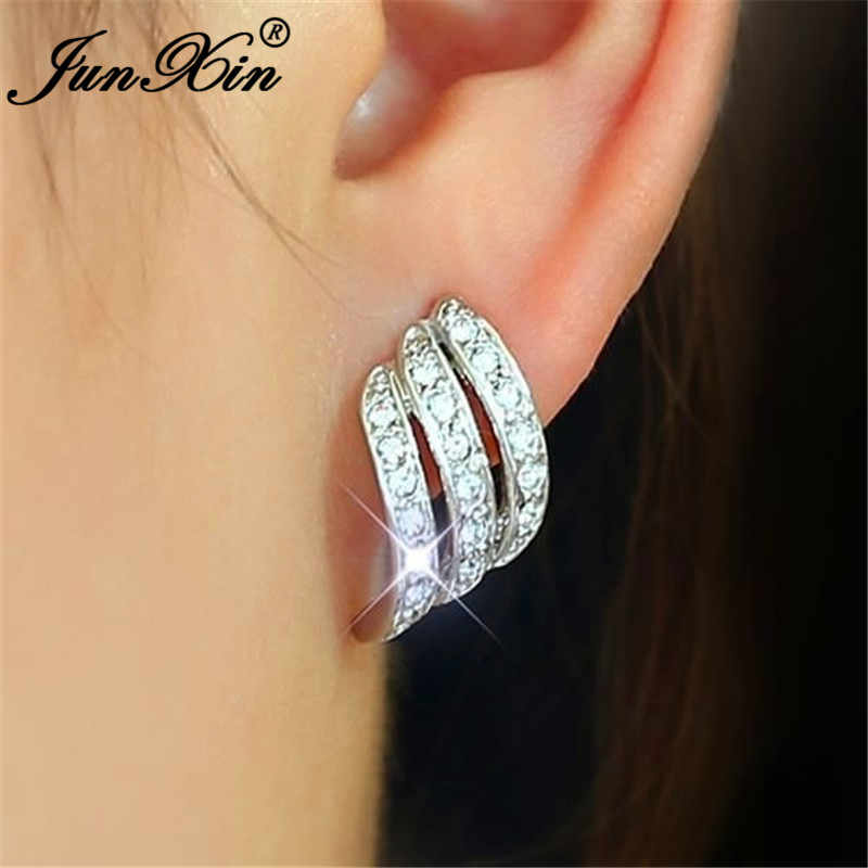 JUNXIN Bonito Asas Do Anjo Brincos Para As Mulheres 925 Sterling Silver Rose Gold Filled Crystal White Zircon Studded Brinco Fêmea