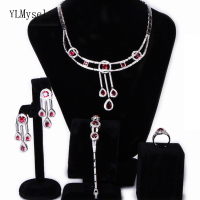 Large engagement party 4pcs sets Shiny Red Green crystal Necklace+Bracelet+earrings+ring big beautiful jewelry set for women