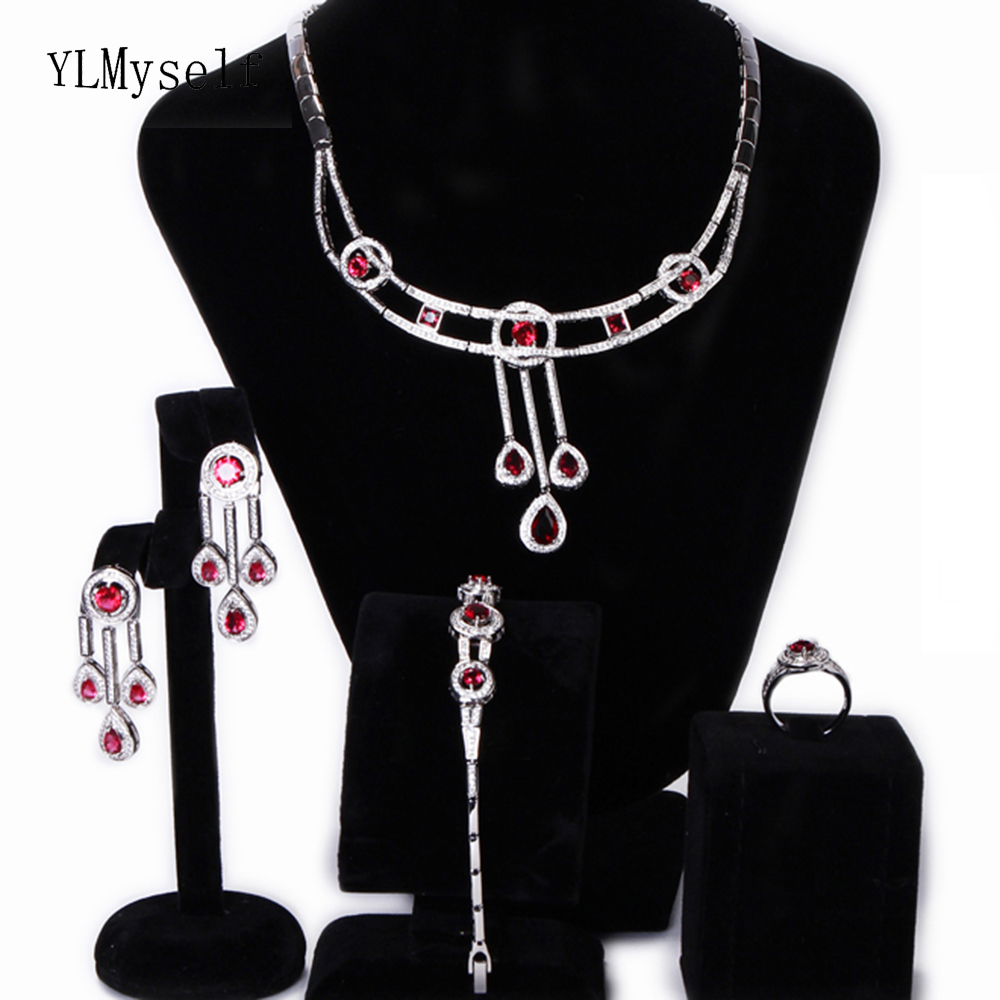 Large engagement party 4pcs sets Shiny Red Green crystal Necklace+Bracelet+earrings+ring big beautiful jewelry set for women a suit of elegant red rhinestone bamboo necklace bracelet ring and earrings for women
