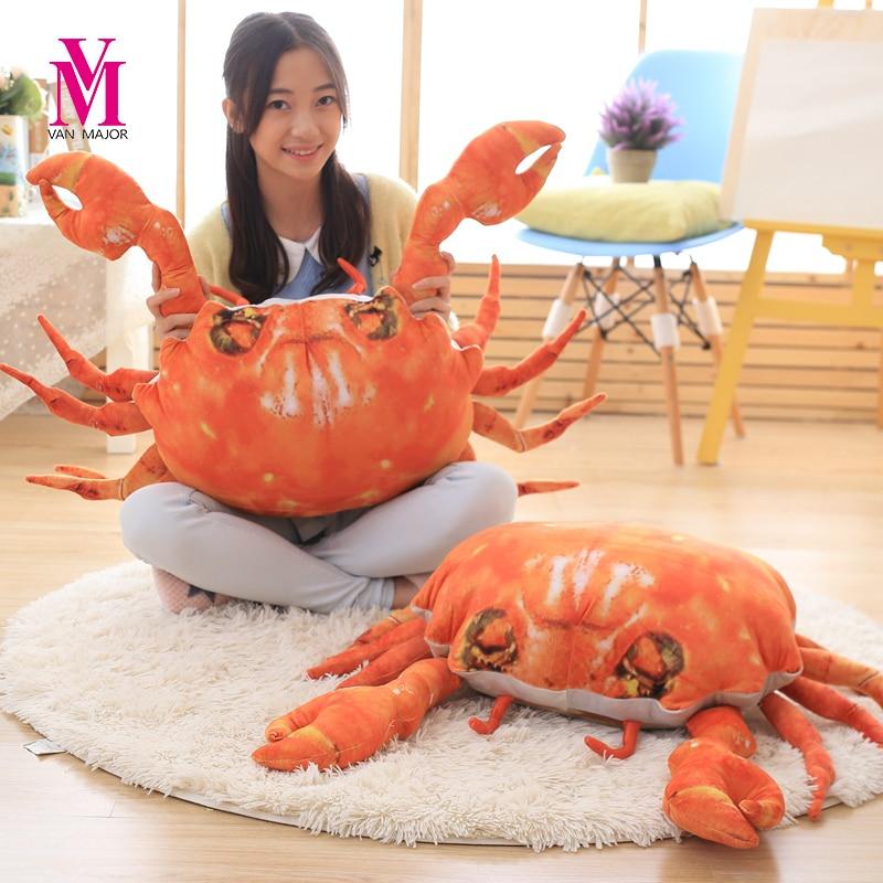 60cm  3D Artificial Crab Cloth Doll Pillow Cushion Stuffed Plush Birthday Gift For Children Crab Plush Toys 2017 new 1pc 60cm creative simulational plush bread shape pillow plush nap pillow cushion birthday gift for children