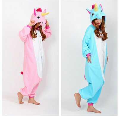 Мода Гостиная Мужской Животных Пижамы Устанавливает Мультфильм Аниме Пижамы Единорог Pegasus Флис Пижамы Живой цельный Пижамы S-XL