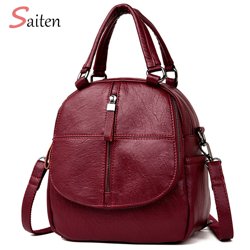 Saiten Women Backpack Female High Quality School Bags Backpacks for Teenage Girls Fashion Zipper Bag Fashion PU Leather Backpack hama h 84426