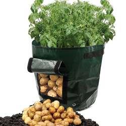 Ткань сумки выращивание картофеля посадки сад горшки кашпо расти Сумка Овощной мешочки для посадки фермы домашний сад PE сумка