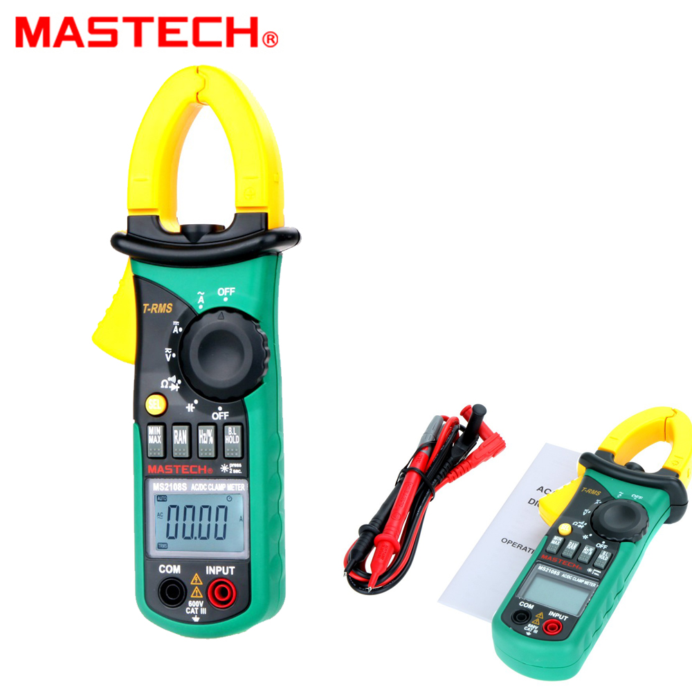 MASTECH MS2108S True RMS 6600 counts Digital AC DC Current 600A Clamp Meter Multimeter Capacitance Frequency Inrush Tester mastech ms2115b true rms digital clamp meter multimeter dc ac voltage current ohm capacitance frequency tester with usb