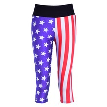 New 1058 Sexy Girl Women USA American Flag 3D Prints Workout Fitness stretchy Elastic Cropped Trousers Leggings Pocket Pants