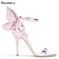 Rousmery 2017 Summer Women Metallic Lilac Pink or Black Embroidered Butterfly wing Leather Stiletto Heel Party Sandals