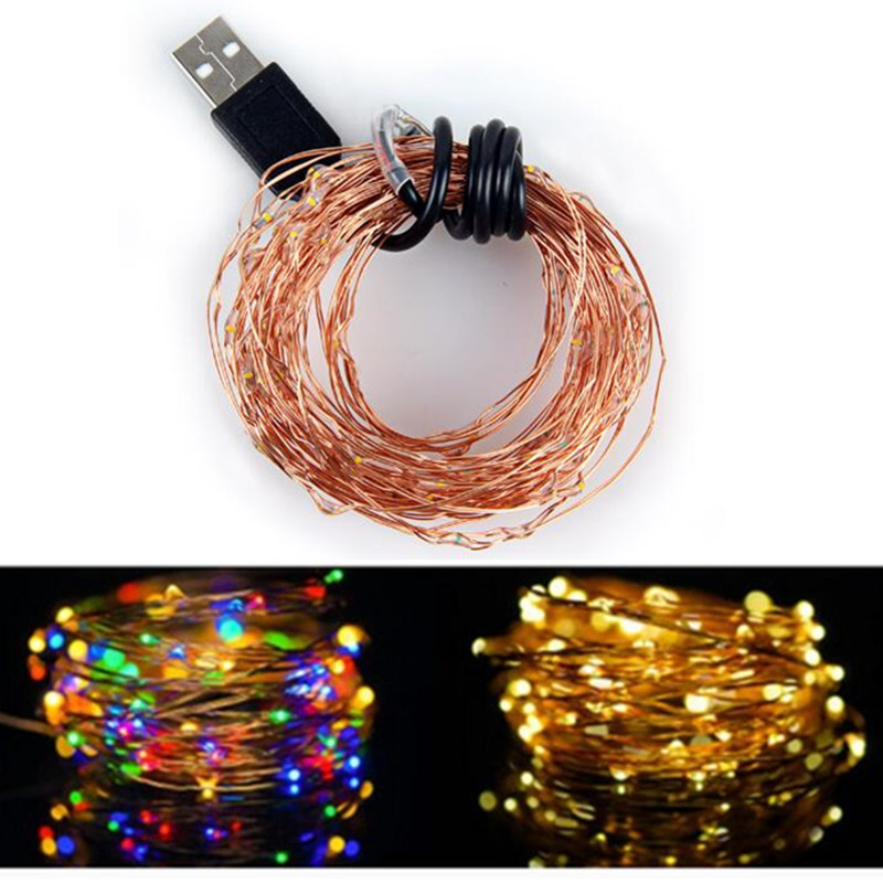 1//5/10M 10-100 Leds USB connector LED String lights Garland Copper Wire Decor Lamp String Fairy Light for Party Decoration