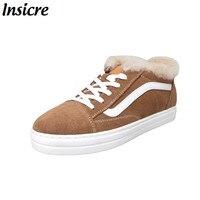 Insicre/Модная зимняя женская обувь на плоской подошве; теплая зимняя обувь на меху; лоферы на шнуровке; удобная зимняя женская повседневная об