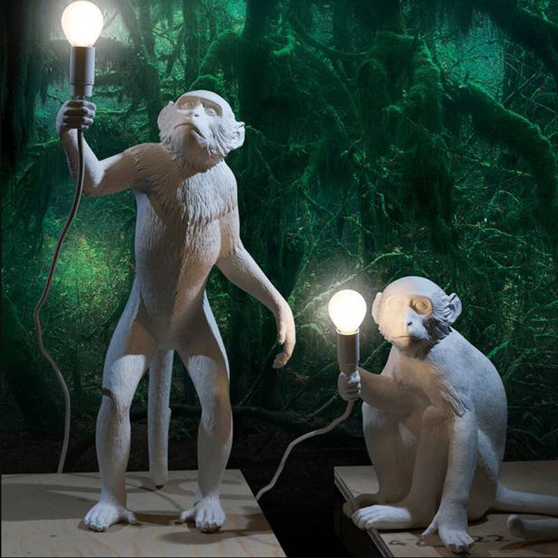 Modern Novelty Resin Hemp Rope Monkey Table Lights Lamps Desk Lamps Industrial Retro E27 Edison Bulb