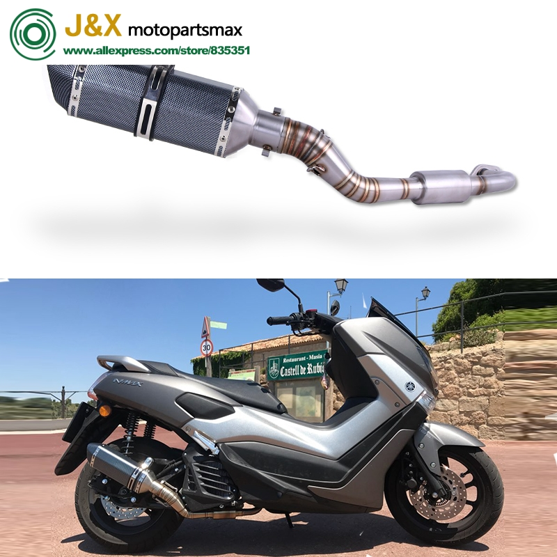 NMAX155 Motorcycle Exhaust Slip On Full System <font><b>Modified</b></font> Front Middle Link Pipe Muffler With Stciker For <font><b>YAMAHA</b></font> <font><b>NMAX</b></font> <font><b>155</b></font> N MAX155 image