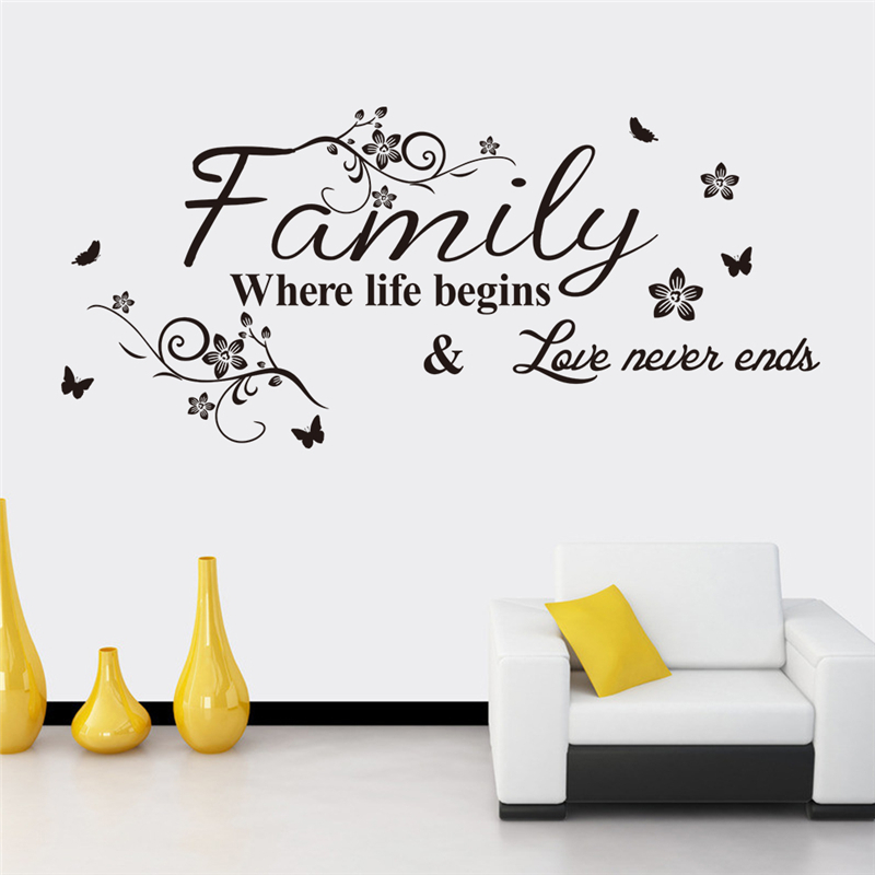 Familie in care viata incepe si dragostea nu se termina niciodata Decals Wall Decoratiuni Camera de zi Decor Diy Wall Stickers Vinyl Art Letters
