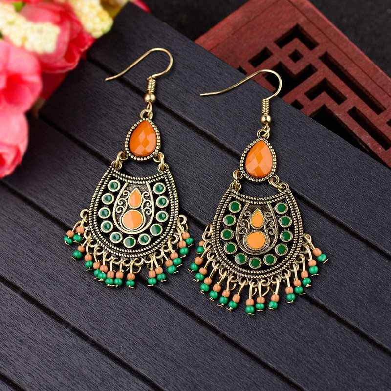 TopHanqi Womens Water Drop Earrings With Tassel Beads Boho Dripping Oil Hollow Bronze Statement Earrings Handmade Gypsy Jewelry