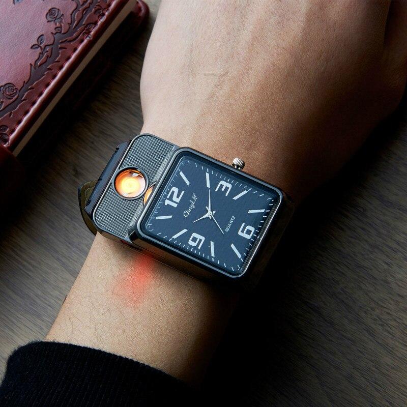 2017 USB militar de carga deportiva más ligero reloj de pulsera de cuarzo Casual para hombre con encendedor de cigarrillos sin llama a prueba de viento 2829