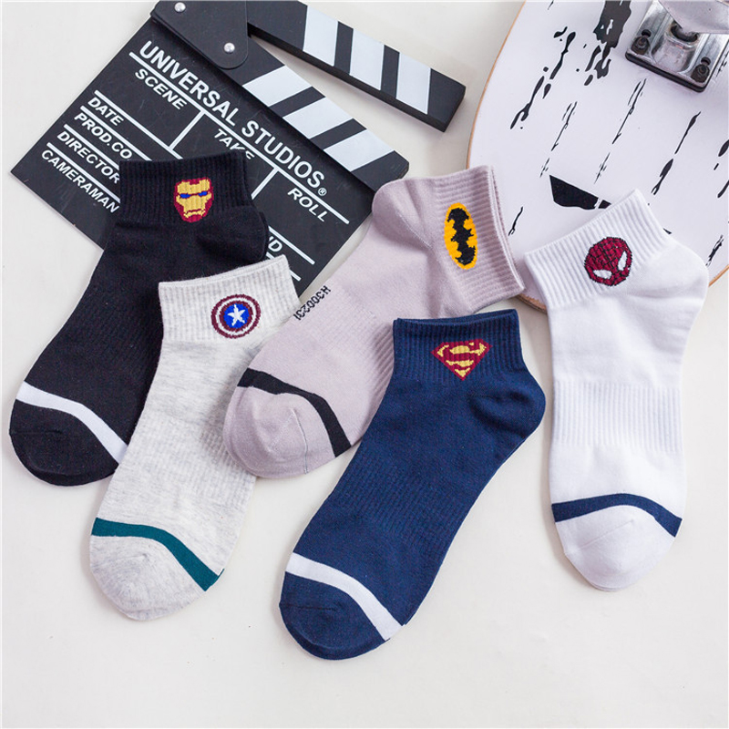 New Marvel Heroes Ankle Socks Men Short Cotton Harajuku  Man Captain America High Temperature Stitching Cartoon Casual Men's Sox