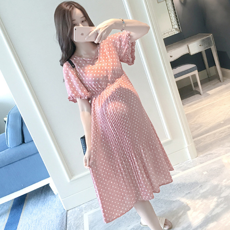 Pregnant Women Midi Pleated Chiffon Dress Pink Polka Dots Summer Pregnancy  Clothes Loose Plus Size Maternity Dresses-in Dresses from Mother   Kids on  ... 4638fb68940b