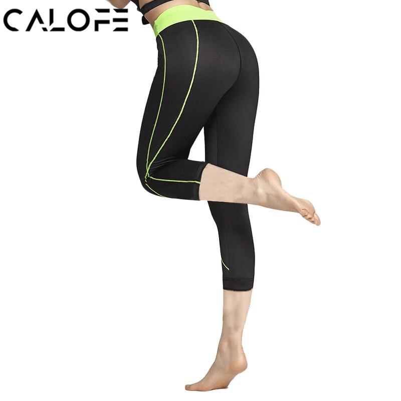 CALOFE Йога Леггинсы Для женщин высокие эластичные Для женщин s спортивные штаны укороченные штаны быстросохнущая тренажерный зал Запуск колг...