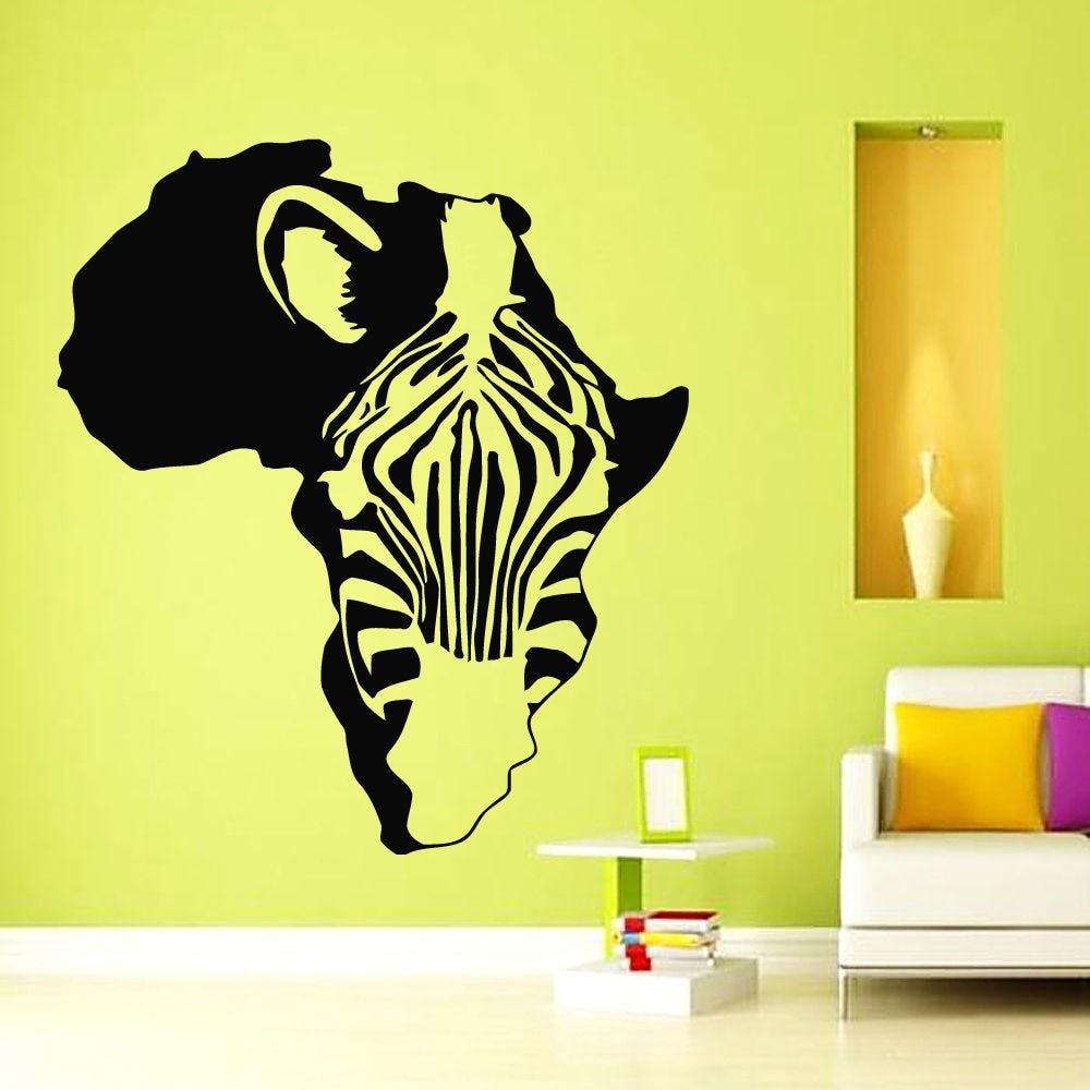 Africa Map Zebra Posters Vinyl Sticker Decal Wall Art Decals ...