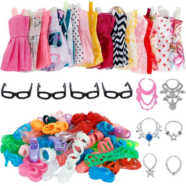 30 Item/Set Accessories = Random 10x Mixed Style Mini Dress + 10x Shoes + 6x Necklaces + 4x Glasses Clothes For Barbie Doll Gift