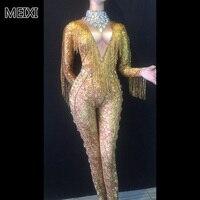 Gold print deep V fringed water drill jumpsuit bar birthday party concert singer dancer's costume