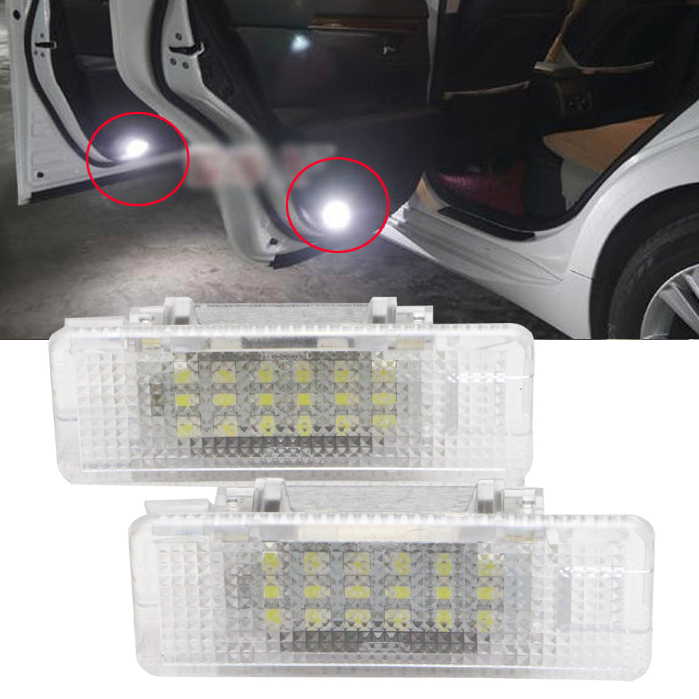 2 pcs LED Car Door Welcome Courtesy Step Light for BMW e39 e53 X5 530d 530i 6500K White OEM Replacment Halogen Lamp