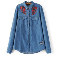 Spring Denim Shirts Floral Butterfly Embroidery Top Blusas 2018 Streetwear Jeans Long Sleeve Women Blouse Rivet