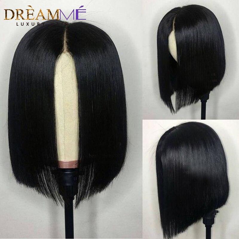 13X6 Deep Part Short Bob Lace Front Wig Glueless Straight Lace Front Human Hair Bob Wig