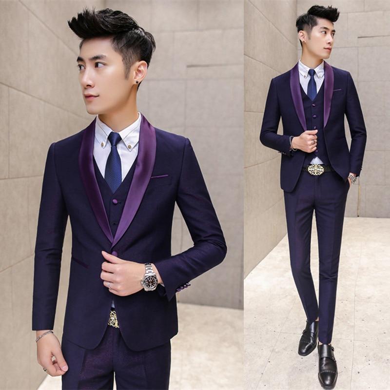 New luxury Groom Tuxedos Men Designer Suits Wedding Suit For Men Tuxedos Slim Fit Blue Purple Suits blazers (jacket+pants+vest)