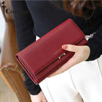 New High Capacity Woman Hasp Long Wallet Nubuck Leather Wallet 3 Folds Card Holder Purse Simple Women Fashion Phone bag