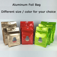 100pcs Stand Up Calabash Aluminium Foil Zip Lock Bag Plastic Food Storage Bags Pack Snack Food