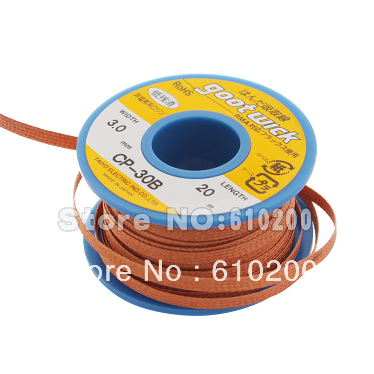 Free shipping High Quality 100%  BGA Desoldering Wire  20m*3.0m goot wick / Soldering Accessory zhongyi 821 pu leather band analog quartz wrist watch for men black white 1 x 626