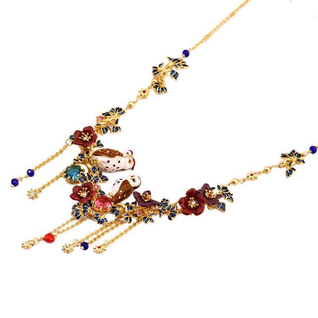 Francia Les Nereides Esmalte Púrpura Pareja Búho Colgante, Collar de Flores Para Las Mujeres Accesorios de Joyería de Moda Freeshipping