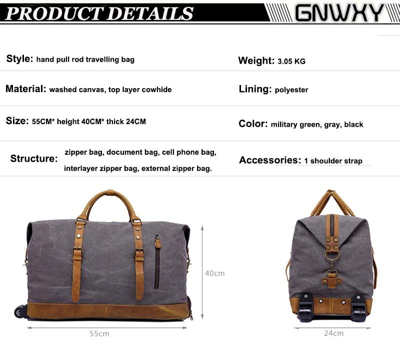 GNWXY Canvas Men Trolley Travel Bag Large Capacity Waterproof Hand ... 0d3ab12c0ca09