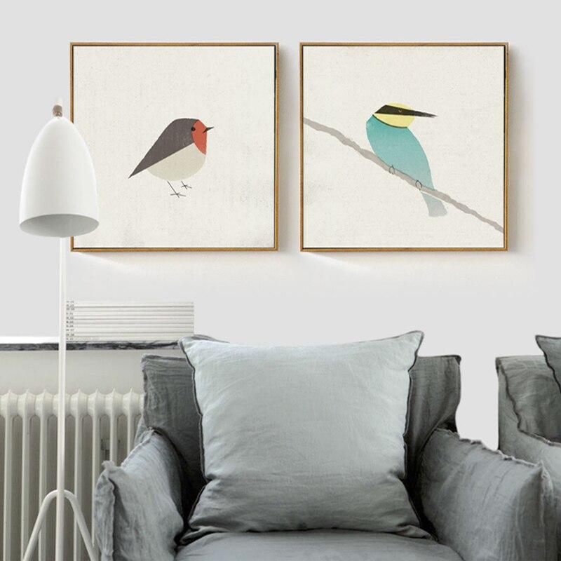 Emin hayat sevimli kuşlar robin arı kuşu tuval boyama posterler ve - Ev Dekoru - Fotoğraf 2