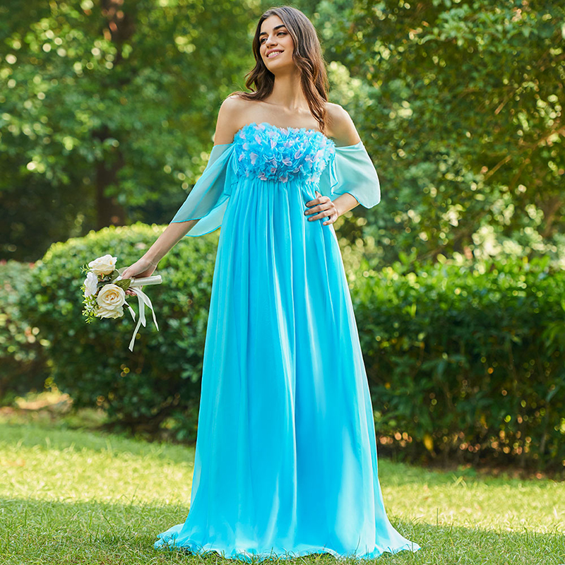 Tanpell strapless   bridesmaid     dresses   ice blue appliques empire floor length wedding party gown women customed   bridesmaid     dress
