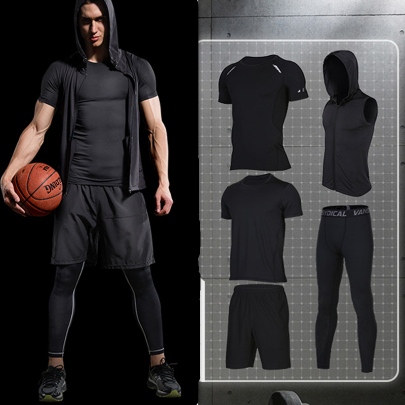 Running set men's sports suits quick dry jogging homme survetement running training clothes compression gym fitness sports suits все цены