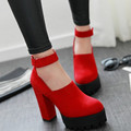 C1041 Size 34-42 Fashion Lady Charm Show Thick High Heels Platform Ankle Boots For Women pumps Sexy Round Toe wedding shoes
