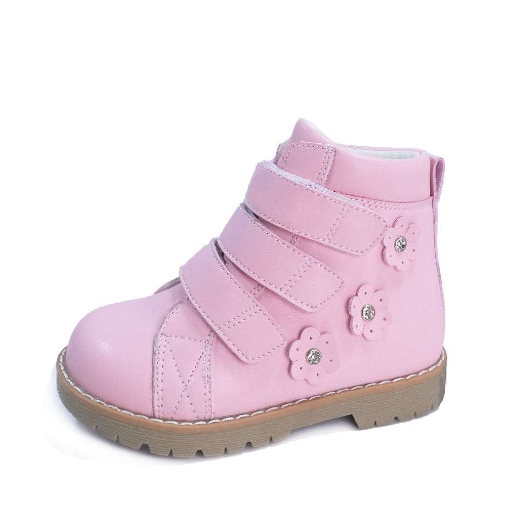 Toddler Little Girls Lovely Pink Geniune Leather Waterproof Boots Flower Decoration Corrective Orthopedic Shoes SneakerToddler Little Girls Lovely Pink Geniune Leather Waterproof Boots Flower Decoration Corrective Orthopedic Shoes Sneaker