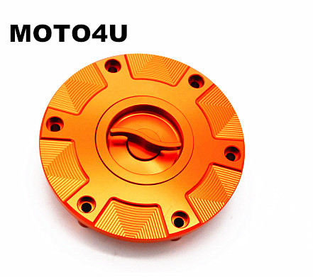 MOTO4U Quick Release Fuel Gas Cap Cover Orange For KTM 1290 Super Duke 2014 motorcycle front rider seat leather cover for ktm 125 200 390 duke