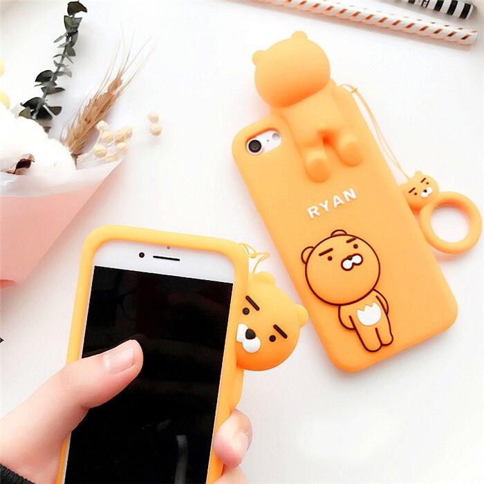 For iphone X Cartoon Ryan Lion bear back cover cases for iphone 7 /7plus / 8 8plus/ 6 6S /6Splus / 5S SE soft case Ring pendant