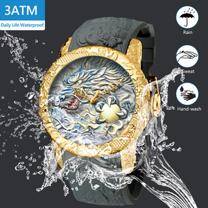 Image 4 - MEGALITH Fashion Gold Dragon Sculpture Watch Men Quartz Watch Waterproof Big Dial Sport Watches Men Watch Top Luxury Brand Clock