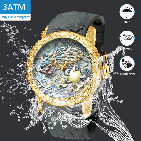 MEGALITH Fashion Gold Dragon Sculpture Watch Men Quartz Watch Waterproof Big Dial Sport Watches Men Watch Top Luxury Brand Clock Islamabad